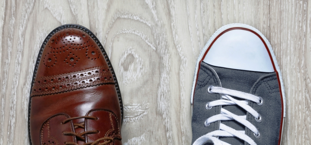 Shoes representing work-life balance and how employers can support that balance at their company.