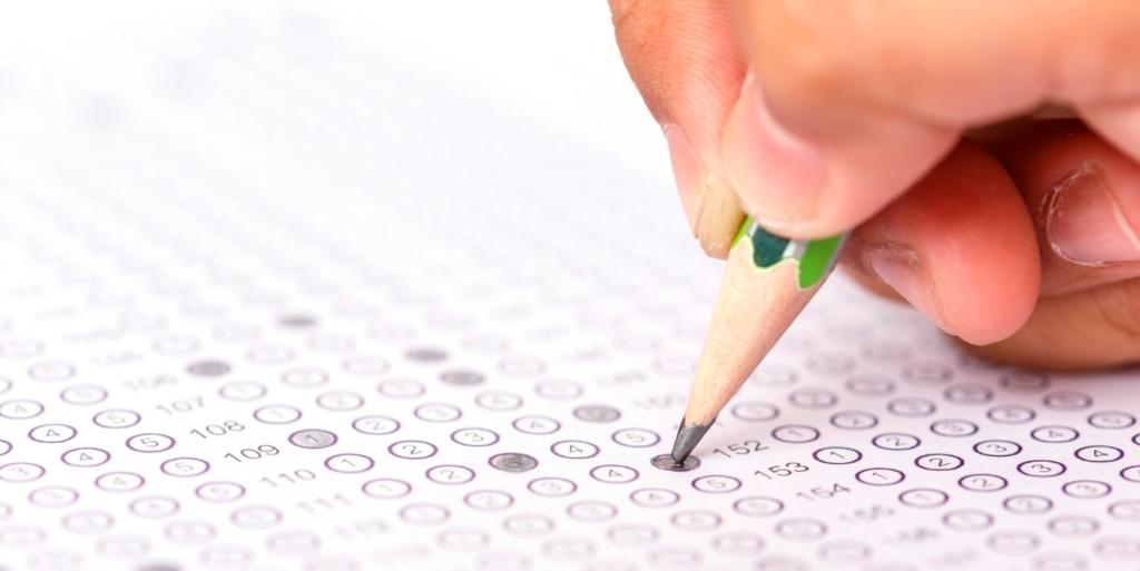 Job seeker taking job assessment tests.