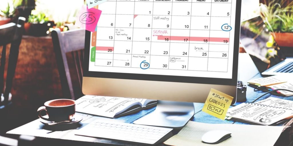 Remote manager's calendar with ideas for managing flexible schedule workers.