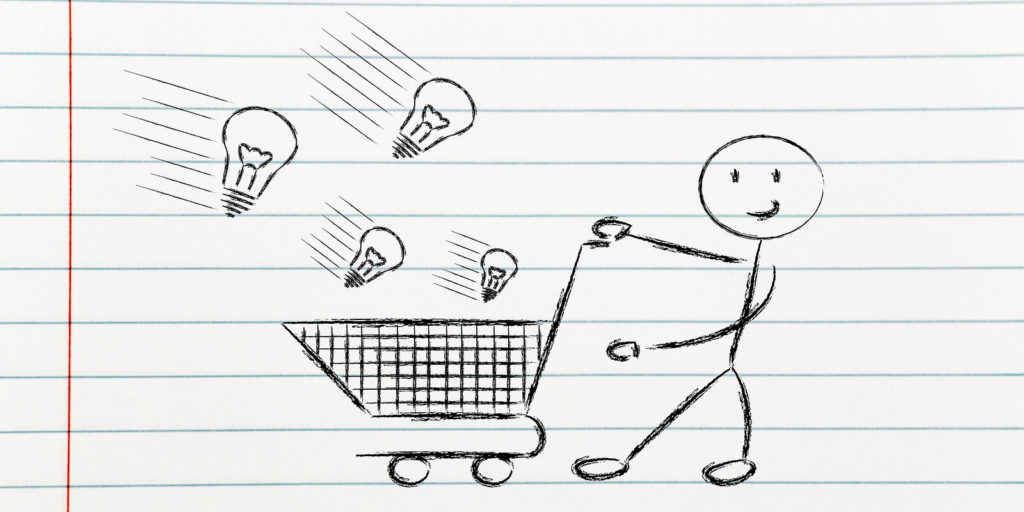 Stick figure with a shopping cart discussing talent acquisition