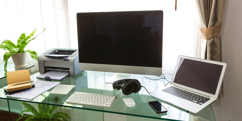 Modern home office, demonstrating how going green can help the environment.