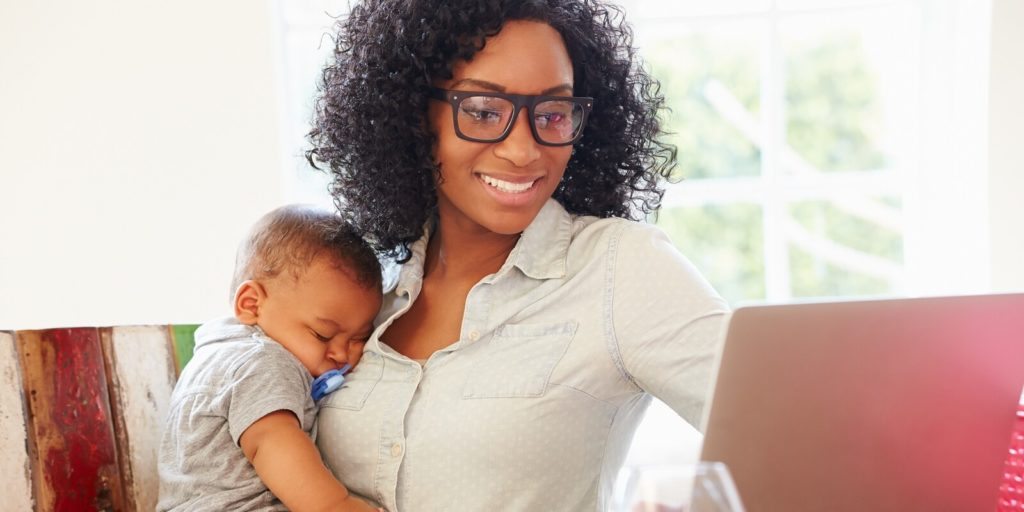 Working parent looking at tips for working parents.