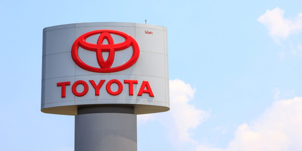 Toyota sign for its telecommuting program.