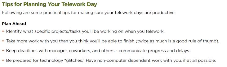sample policy employees tips for telework day