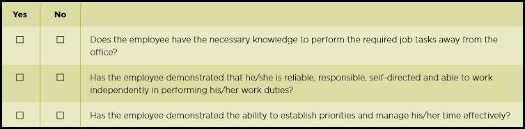 sample policy telework assessment
