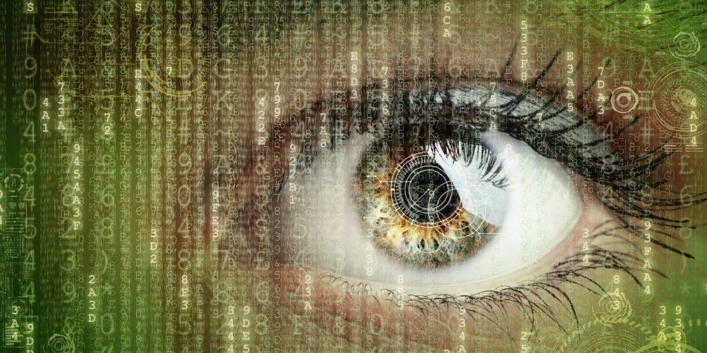 Job seeker's eye looking at telecommuting metrics